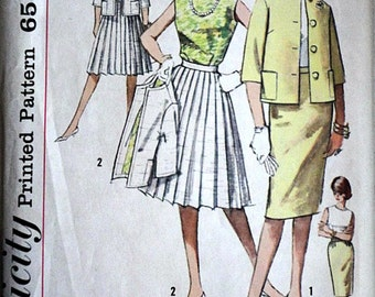 Vintage 60's Simplicity 4400 Sewing Pattern, Misses' Blouse, Jacket and Two Skirts, Size 14, 34 Bust, Uncut FF, Mad Men