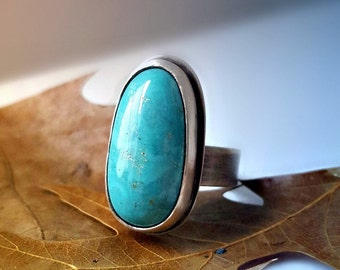 Natural Kingman Mountain Turquoise Ring, Sterling Silver Statement Ring, Oxidized, Southwestern Stone Ring, Open Band, Size 8 - 8.25