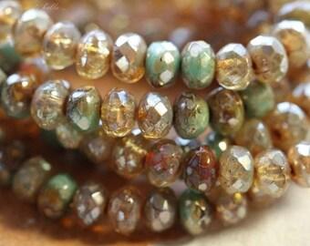 DESERT MIX BITS No. 1.. 30 Premium Picasso Mix Czech Rondelle Beads 3x5mm (4520-st)