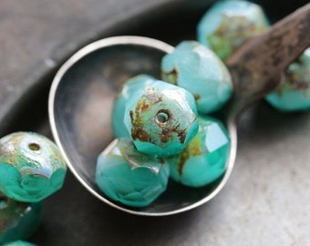 TEAL BEACH .. 10 Premium Czech Picasso Rondelle Glass Beads 6x8-9mm (5287-10)