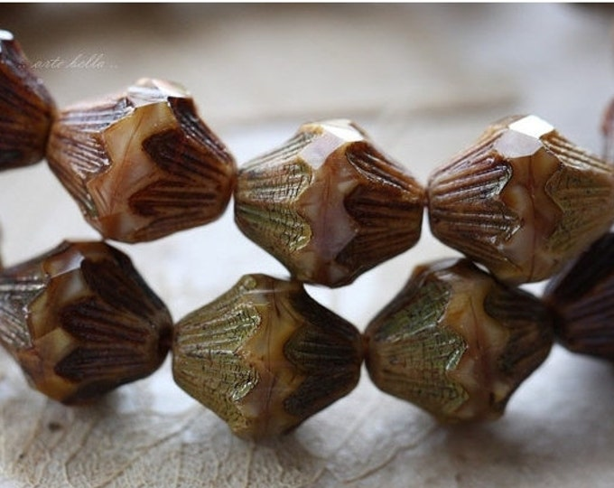 sale .. CARAMEL PISTACHIO LOVE .. 6 Picasso Czech Glass Baroque Bicone Beads 13x11mm (4407-6)