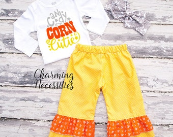 Fall Halloween Outfit, Baby Toddler Girl Clothes, Top and Ruffle Pants Set in Candy Corn Cutie by Charming Necessities