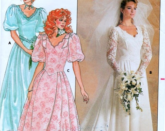 """Vintage Butterick 3615 Misses' and Miss Petite Wedding or Bridesmaid Dress Vintage Sewing Pattern Size 12 Bust 34"""" Used"""
