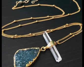 Druzy Necklace - Crystal Necklace -- Ready to Ship - Blue Druzy Necklace - Crystal Point Necklace - Gold Dipped Necklace