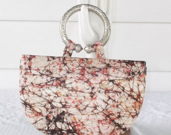 1950s Vintage Silk Splatter Print MCM Purse Orange Black Cream Etc