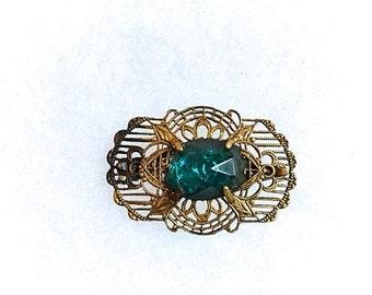 Edwardian Art Nouveau Filigree Brooch . Aqua Marine Faceted Glass Stone Antique Pin . 1900s Ornate Pierced Brass Lace Metal Jewelry