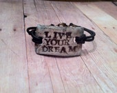 Aromatherapy Diffuser Jewerly Essential Oil Therepeutic Inspirational Bracelet, Live Your Dream Rustic Old World Style Steampunk