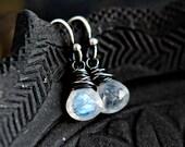 Moonstone Earrings, Moonstone Jewelry, Drop Earrings, Dangle Earrings, Sterling Silver, PoleStar, Rainbow Moonstone
