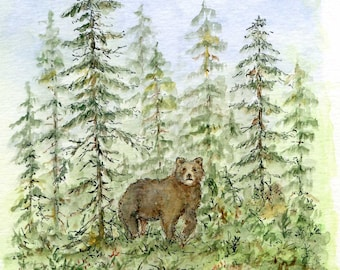 Bear In Woods/Watercolor and ink original painting