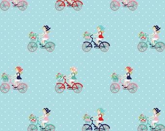 Vintage Market Riley Blake cotton fabric - Vintage Bike Ride VM4561 Aqua, select a length