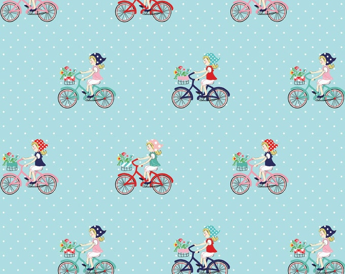 Vintage Market Riley Blake cotton fabric - Vintage Bike Ride VM4561 Aqua, select a length