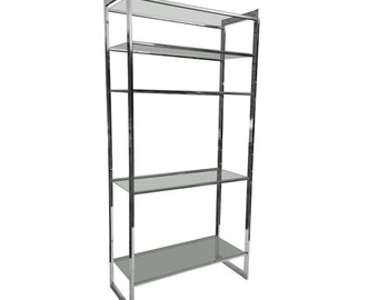 Mid Century Modern Chrome with Glass Shelves Etagere