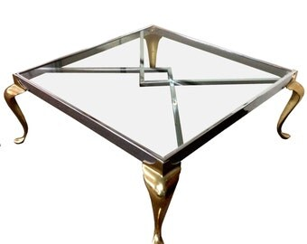 Summer Sale Regency Brass and Chrome Glass Top Coffee Table