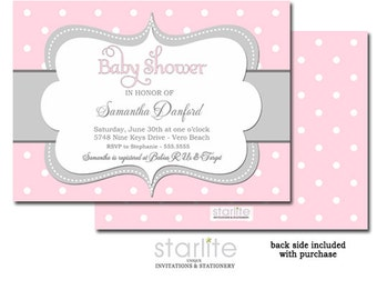 Girl Baby Shower Invitation   Pink and Gray Grey Polka Dots Baby Shower Invitation   Baby Sprinkle Invite   Personalized Printable / Printed