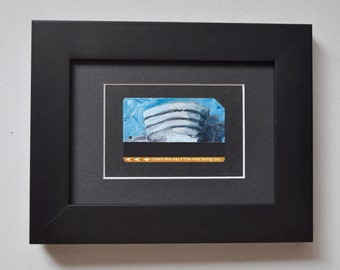ART Original Oil Painting NYC Guggenheim Museum Upcycled Subway Card Framed