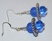 Double Blue Beaded Shortie Earrings