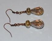 Copper and Gold Lampwork Drop Earrings