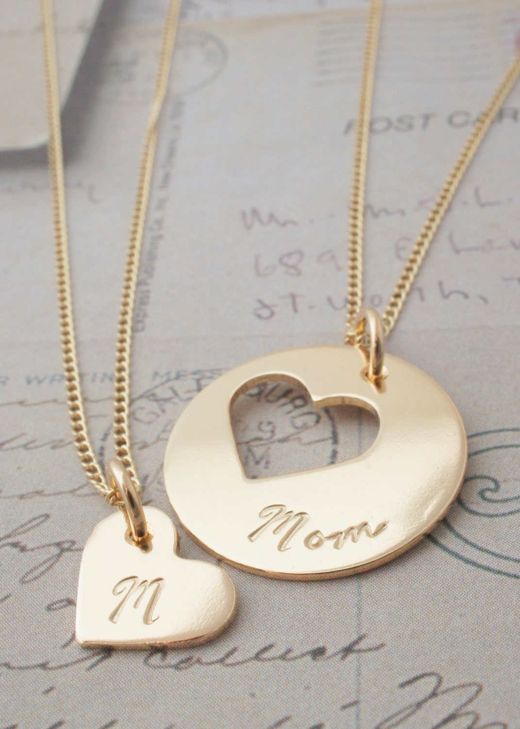 personalized mother daughter jewelry custom heart necklace. Black Bedroom Furniture Sets. Home Design Ideas