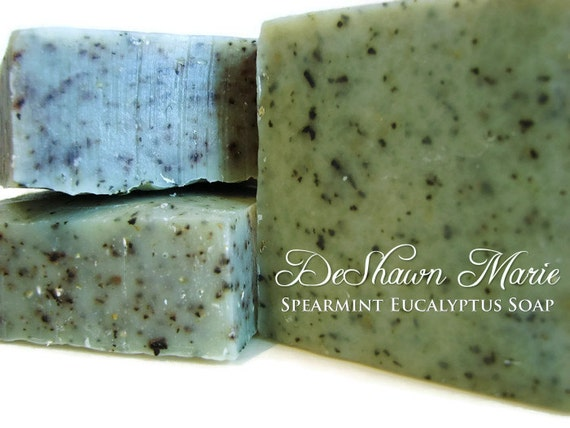 SALE SOAP- Organic Spearmint Eucalyptus Soap, Cold Process Soap, Vegan Soap, Soap Gift, Wedding Favors, Father's Day Gift, Christmas Gift