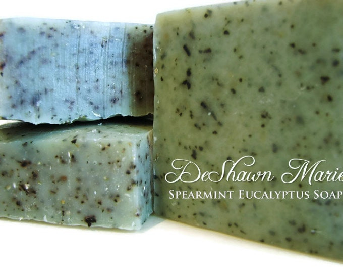 SOAP- Organic Spearmint Eucalyptus Soap, Cold Processed Vegan Handmade Soap, Soap Gift