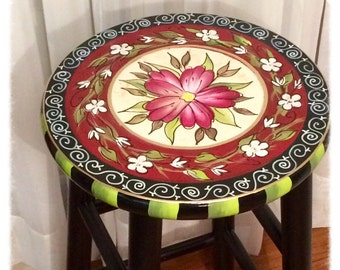 "Whimsical painted furniture, Painted bar stool, 24"" or 29"" hand painted custom round top wooden bar stool // counter stool - chair"