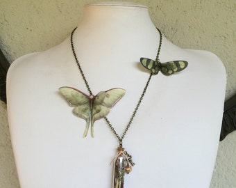 Little Treasure - Handmade Necklace with Cotton and Silk Organza Butterflies and Glass Vial with Real Dried Flowers - One of a Kind