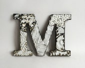 """Tin Ceiling Wrapped 8"""" Patchwork Reclaimed Metal White Letter """"M"""" Mosaic Wall Hanging 208-16"""
