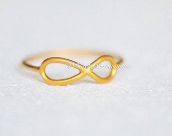 Satin 24K Gold Plated Sterling Silver Vermeil Infinity Ring - Insurance Included