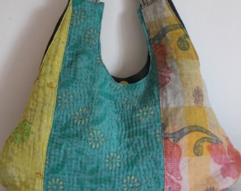 Bag kantha patchwork blues green turquoise pink
