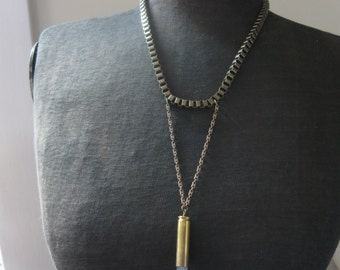 Trapeze Style Crystal Bullet Necklace