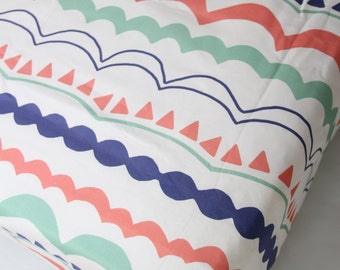 Coral Mint Fitted Crib Sheet Custom Crib Bedding- Ready to Ship - Carnival