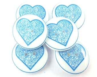 "6 Blue Heart Buttons.  Blue Lace Novelty Buttons. Sewing Buttons. 3/4"" or 20 mm Round."