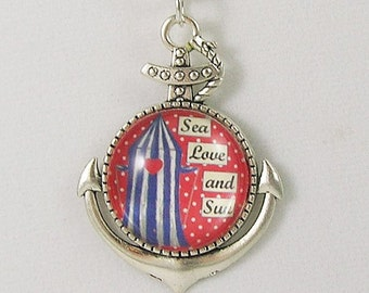 Sea, Love, and Sun Pendant/Necklace Nautical Red White Blue