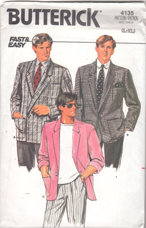 butterick 4135 1980s mens single breasted jacket