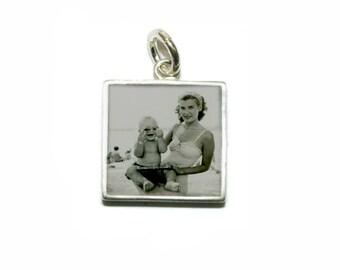 Custom Photo Charm/ Medium 12mm Silver Square