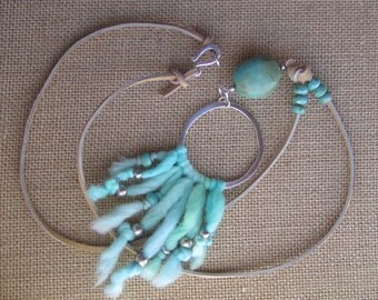 Boho Bohemian Hippie Leather Cord Turquoise and Sterling Necklace