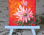 """3""""x 3"""" Flower Painting Mini Art Miniature Canvas with or w/o easel Creationarts"""