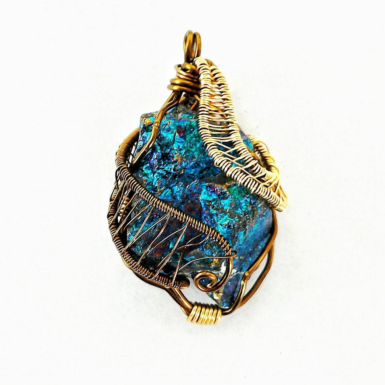 Peacock Ore Pendant Bornite Necklace Wire Wrapped Pendant