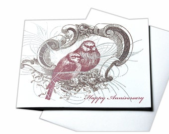 Happy Anniversary Love Birds Blank Letterpress Card