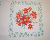 Vintage Wilendur Tablecloth Red & Green Day Lilies