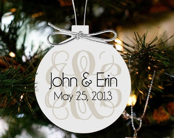 Monogrammed first Christmas couples ornament FCMO