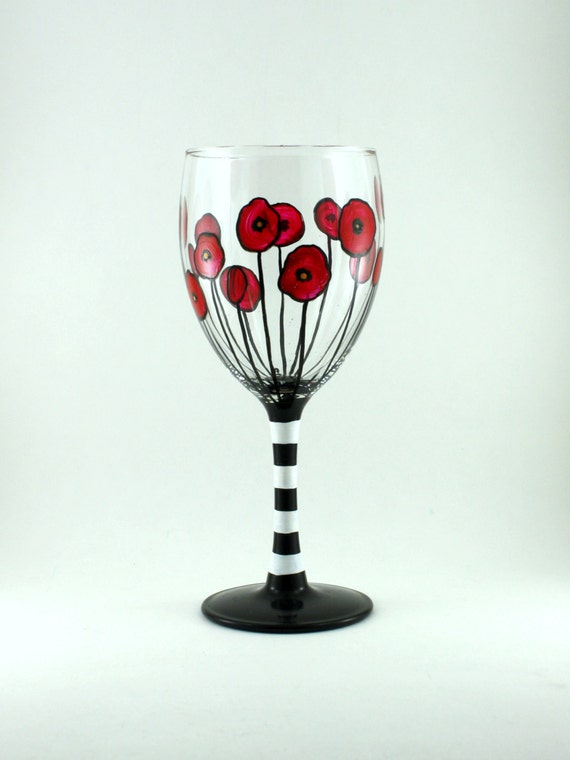 Red Poppies Funky Wine Glass Hand Painted Black And White