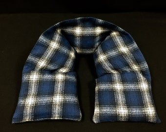 Neck Heating Pad, Microwave Heat Pack, Flannel Corn Bag, Heated Neck Wrap, Plaid Flannel Neck Warmer, Relaxation Gift, Gift For Dad