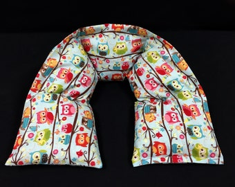 Heated Neck Wrap, Corn Heating Pad, Neck Warmer, Microwave Neck Wrap, Gardener Gift, Muscle Pain Relaxation, Heat Pack, Colorful Owls