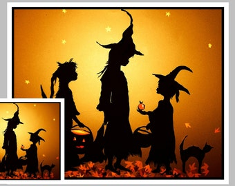 Children's Halloween Card-Silhouette of Witches -Cute, Gold, 3 Witches, #4
