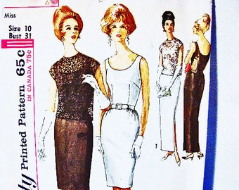 1960s Evening Dress Pattern Misses size 10 Evening Gown or Sheath Dress with Overblouse Sewing Pattern