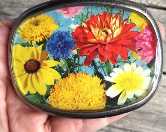 belt buckle repurposed vintage seed packet old fashioned garden pewter buckle flowers seeds blooms eco fashion