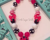 Cheery Little Ladybug Lady Bird Chunky Bubblegum Bead Necklace
