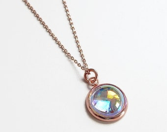 Rose gold crystal bubble necklace in plated rose gold - Swarovski crystal  - crystal necklace