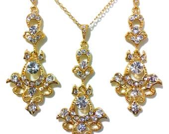 Gold Bridal Jewelry Set, Chandelier Bridal Earrings, Long Dangle Bridal Necklace, Victorian Wedding Earrings, Swarovski Jewelry, MATAHARI